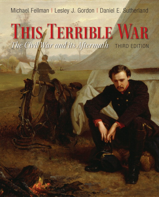 Book cover for This Terrible War featuring a painting of a Union soldier sitting by a campfire.