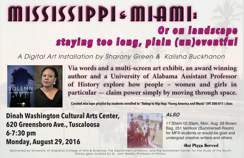 Print for this event. It has a Miami Beach scene in the background.