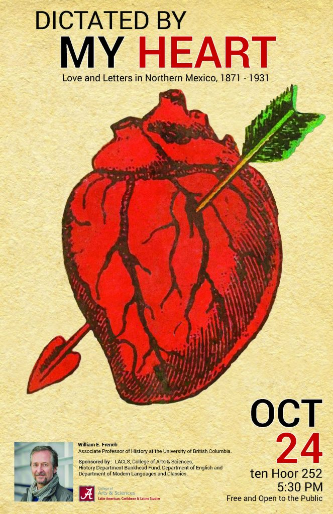 Event poster, featuring an image of a human heart with an arrow penetrating through the heart.