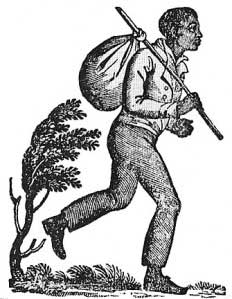 This image is a wood cut print of an enslaved man attempting to run away. He was all his possessions in a hobo bindle.