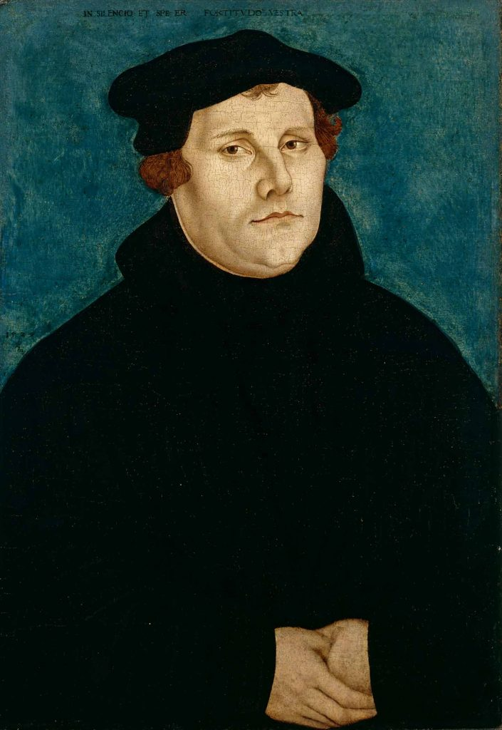 This image shows the painting Martin Luther, by Lucas Cranach der Ältere (1529)