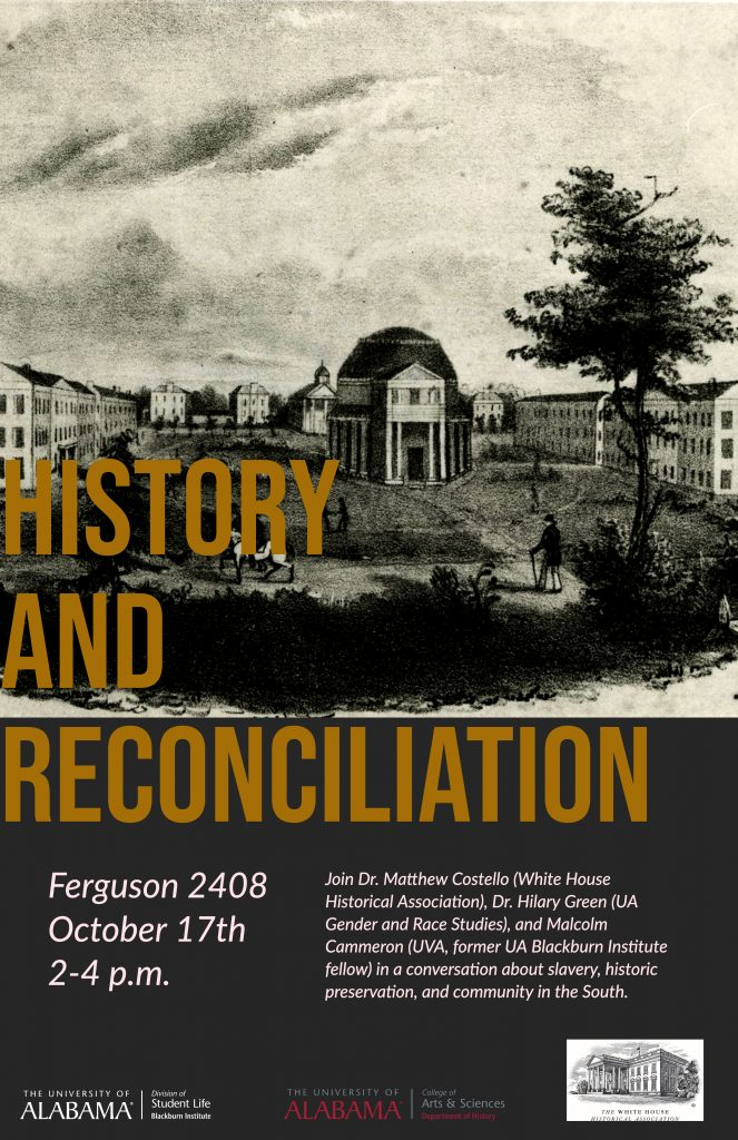 Image of the event poster. The text contains all the same information as is on this page. The background image is a sketch of the UA campus during the antebellum period.