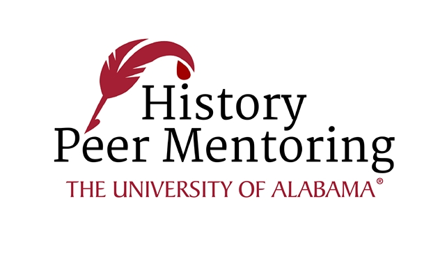 "History peer mentor logo. Includes a quill and the words ""History Peer Mentoring."""