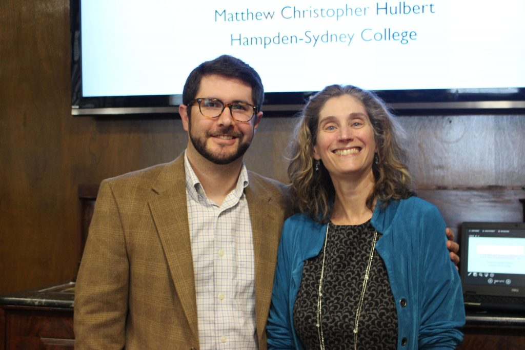 Photo showing Hulbert (left) with Lesley Gordon (on right)