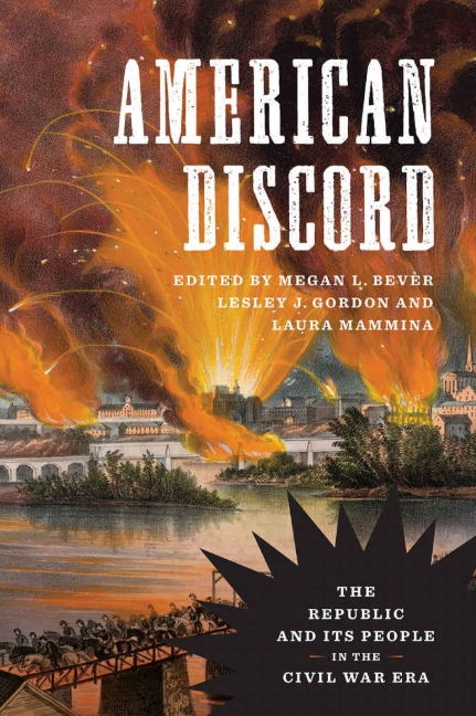 Dust jacket for American Discord. It shows a battle scene depicting Richmond on fire after the Confederate withdrawal from that town in April 1865.