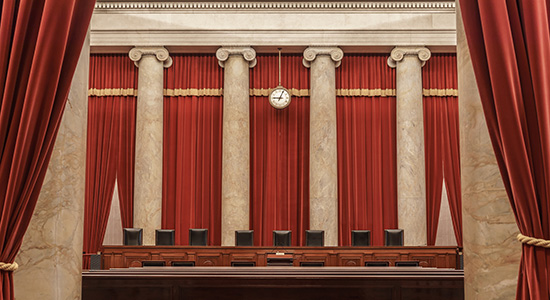 Photo of the US Supreme Court chambers.