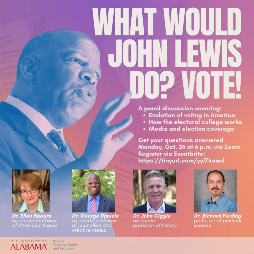 Poster image for this presentation. It shows an image of John Lewis with those of the presenters.