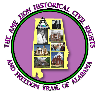 Logo for the AMEZ Freedom Trail. Map of Alabama overlain a lavender background.