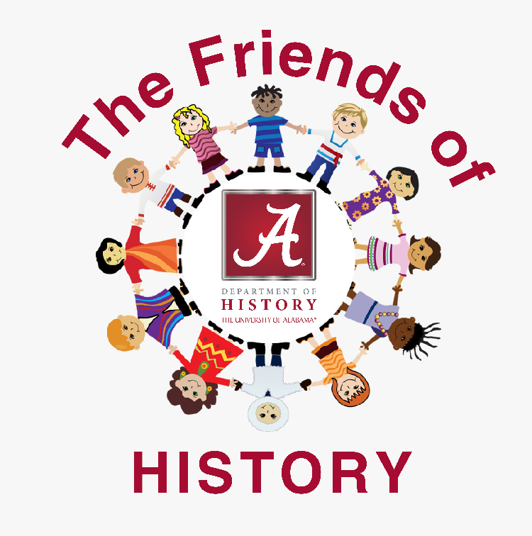 """Image showing children in a circle holding hands with words """"The Friends of History"""""""