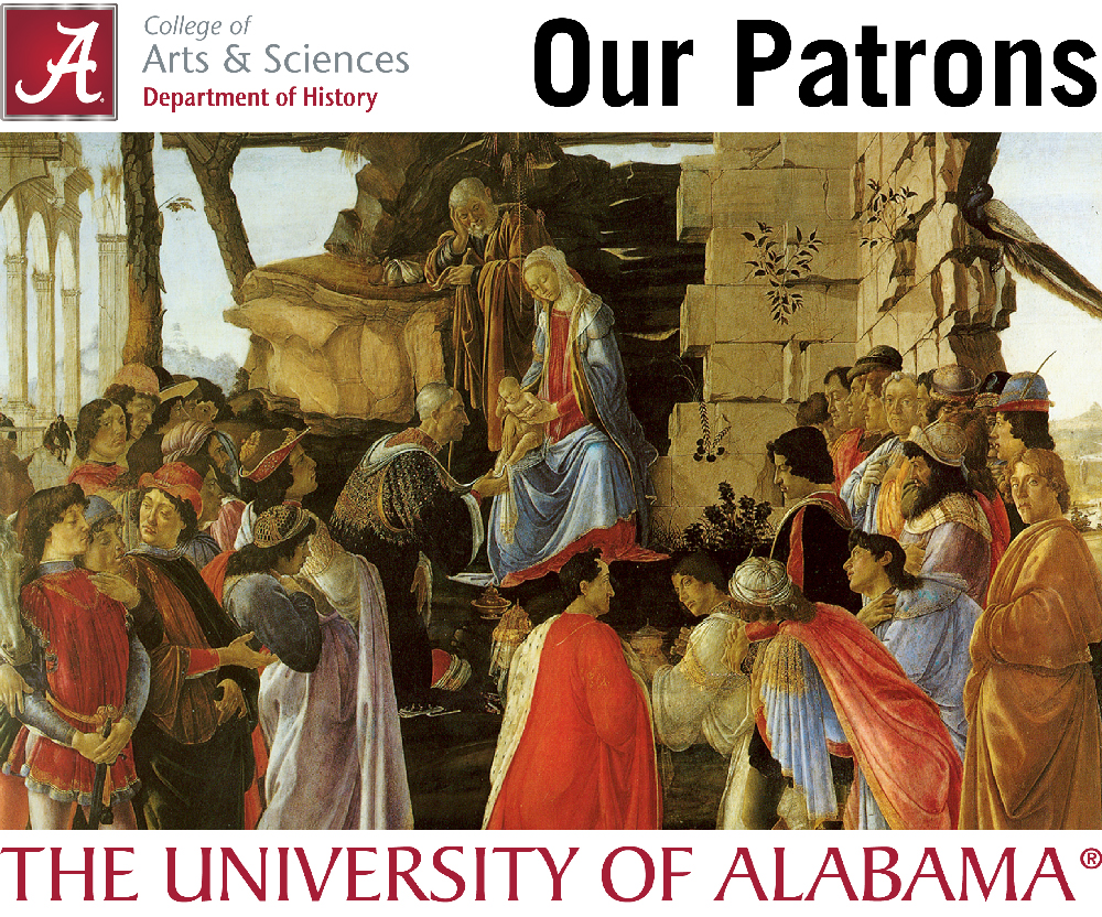 Logo for Patrons of the Department. Features Botticelli's Adoration of the Magi