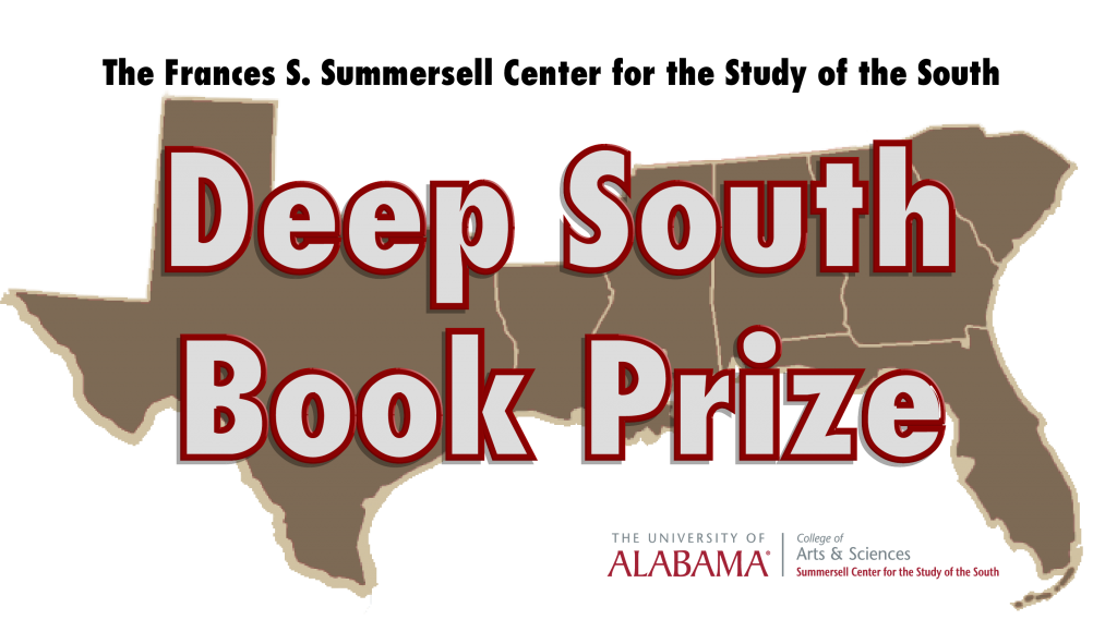 Logo showing a map of the Deep South and the words Deep South Book Prize superimposed over the map.