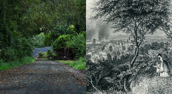 Image showing a pile of coal at the end of a wooden gravel road on the left and a black-and-white image overlooking a town on the right.
