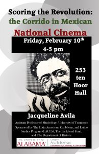 Poster for Avila talk. It has a picture of Pancho Villa on it.