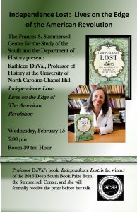 Poster for event, featuring phot of Duval holding her book.