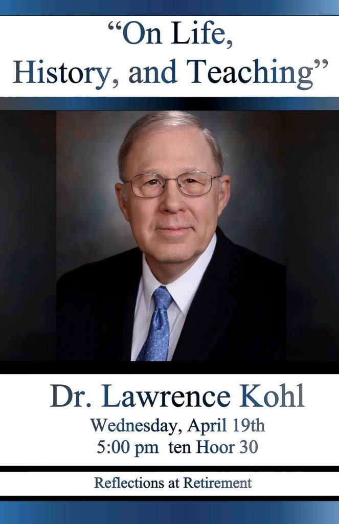 This an image of a poster for the event. It includes a picture of Lawrence Kohl.