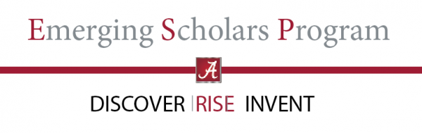 "This image is the Emerging Scholars Program logo. It is an image containing text with the program name and their slogan: ""Discover, Rise, Invent"""