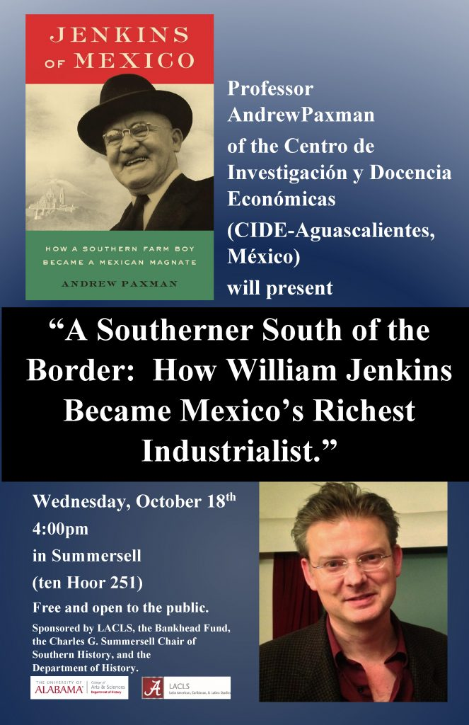 This image is of a poster that conveys the same information found in this post, except that it has a picture of William Jenkins and Andrew Paxman.
