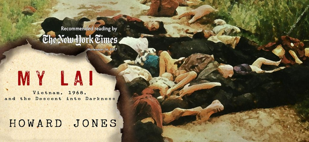 This image shows the book jacket for Jones's book, displaying the mangled corpses of Vietnamese civilians.